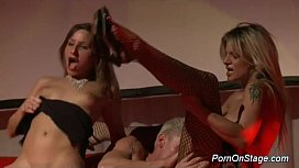 threesome fuck on public show stage