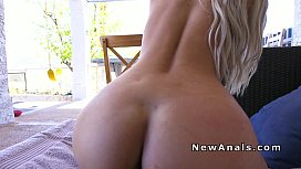 Natural busty blonde anal...