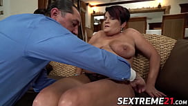 Busty old woman with h. tits rides a massive hard cock