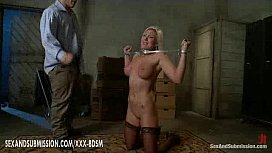 Tied blonde babe gets...