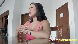 Obedient Latina offering her...