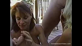 Vintage amateur orgy with two couples in the backyard