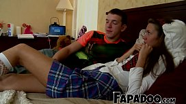 Teen Couple Kissing And...
