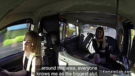 Lesbians in fishnets licking in fake taxi