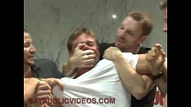 Dominated gay pissed by hard cocks