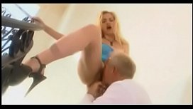 Blonde slut in a little blue tang top gets licked up and penetrated