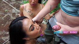 Outdoor 3some with Macy Nihongo and Fernie Thai