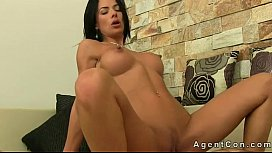 Busty brunette anal banged on couch on casting xxx image