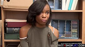 Slender ebony shoplifting teen...