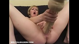 Horny blonde Jacinda fills her pussy with a huge dildo xxx video