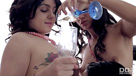 3 Perfect Russian Teen Lesbians Party and Masturbate Together