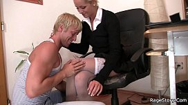 Office blonde in white...