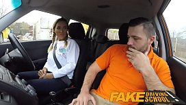 Fake Driving School Busty gym bunny big tits bounce as she squats on cock xnxx image