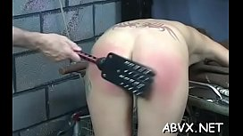 Rough spanking and harsh bondage on woman'_s snatch
