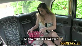 Beautiful Cathy with a massive tits gets banged hard in the backseat of the cab
