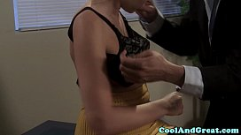 Blonde secretary sucking off...