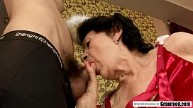 Very old hairy pussy fucked by a young stud