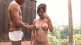 Soft And Lovely Aika Outside Bent Over Her Pussy Toyed