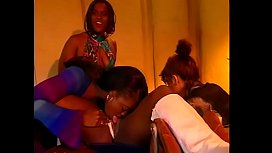 Four lesbian sluts rubbing and licking their pussies