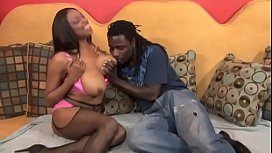 Two busty black babes Carmen Hayes and Maserati suck and titty fuck a huge cock