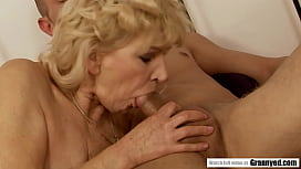 Horny Blonde GILF Irene Re-lives golden days, fucked by young chap