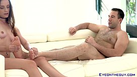 Hairy stud Will Pounder cums on babe after fucking her hard