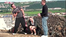 Cute blonde fucked by 2 guys in public with blowjobs and doggy style sex