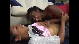 Affectionate lesbian masturbates before getting pounded hardcore with a strap on