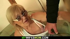 Guy finds out his very old motherinlaw is horny bitch!