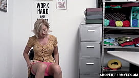 Bustylicious MILF thief Amber Chase was caught on CCTV stealing and gets a fuck punishment from a security officer.