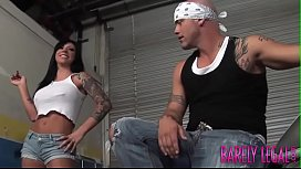 Inked Mason Moore spreads young legs for biker dick