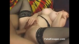 Bigtit cougar in stockings takes hard pounding in her hairy pussy bareback