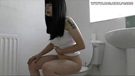 Black hair girl pooping...
