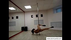 Skinny girl pole dancing...