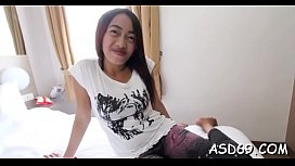 One-eyed monster loving asian cutie licks and sucks a massive schlong
