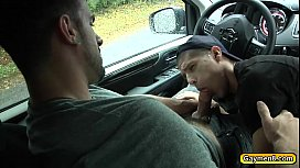 Roadside blowjob and hard...