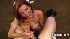 POV redhead nympho tugging and tit fucking a jizz loaded cock