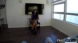 Adorable natural latina gets covered in cum by new boss POV