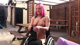 Wheelchair bound Leah Caprice flashing and public nudity of sexy disabled pornst