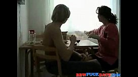 Chubby wife invites her young boy toy for a drink and quickie