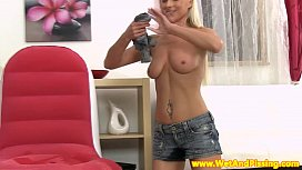 Beautiful pissdrinking blonde with...