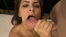 Amazing brunette Bella Luciano throats giant dick and gets it inside