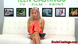 Casting teen gagging while...