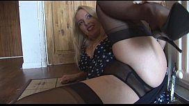 Busty mature blonde babe stripping and teasing