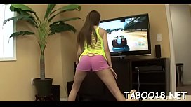 Elegant girl Zarena Summers bounces on thick pole