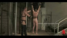 Naked gay prisoner tied...