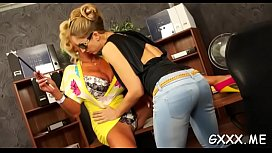 Lesbian fun for busty babes eager to get drowned in muff