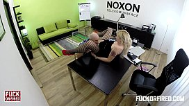 A creampie for a horny blonde in stockings