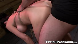 Tied Kimmy Lee brutal throat fuck and penetration