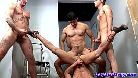 Group of hunks on...